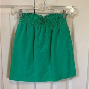 Green J. Crew skirt, size 00, pockets